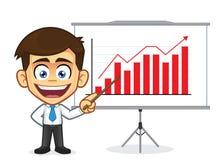 Hombre de negocios que hace una presentación stock de ilustración