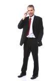 Hombre de negocios que invita al teléfono móvil Fotografía de archivo
