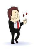 Hombre de negocios que juega en dos dados rojos, concepto Fotos de archivo