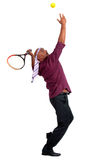 Hombre de negocios que juega a tenis Imágenes de archivo libres de regalías