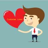 Hombre de negocios que lleva a cabo el corazón rojo con vector del amor del cliente de la palabra Imagen de archivo libre de regalías