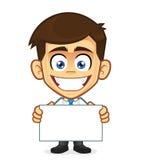 Hombre de negocios que lleva a cabo una muestra en blanco stock de ilustración