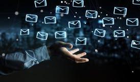 Hombre de negocios que lleva a cabo y que toca bosquejo flotante de los correos electrónicos ilustración del vector