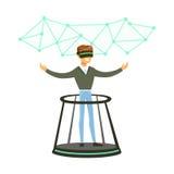 Hombre de negocios que lleva las auriculares de VR que trabajan en un proyecto en la realidad aumentada, ejemplo futuro del vecto Fotografía de archivo