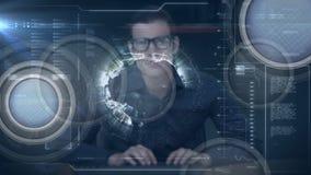 Hombre de negocios que mecanografía en el ordenador con la rotación del globo ilustración del vector