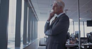 Hombre de negocios que mira fuera de la ventana y del pensamiento almacen de video