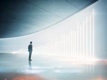 Hombre de negocios que mira la carta brillante en la pared ilustración del vector