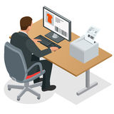 Hombre de negocios que mira la pantalla del ordenador portátil Hombre de negocios en el trabajo Hombre que trabaja en el ordenado ilustración del vector