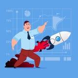 Hombre de negocios que mira que vuela a Rocket New Startup Strategy Concept Imágenes de archivo libres de regalías