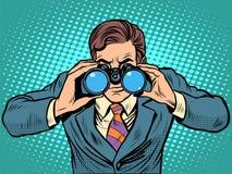 Hombre de negocios que mira a través de los prismáticos Navegador de la visión de la ventaja ilustración del vector