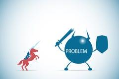 Hombre de negocios que monta un caballo contra al carácter del problema, a la solución y al concepto del negocio Imagen de archivo