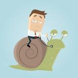 Hombre de negocios que monta un caracol lento stock de ilustración