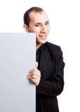Hombre de negocios que muestra algo Imagen de archivo libre de regalías