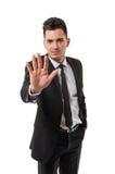 Hombre de negocios que muestra el número cinco Foto de archivo libre de regalías