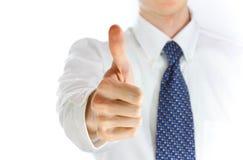 Hombre de negocios que muestra el pulgar para arriba Fotografía de archivo