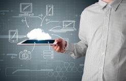 Hombre de negocios que muestra la computación dibujada mano de la nube Fotos de archivo