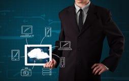 Hombre de negocios que muestra la computación dibujada mano de la nube Imágenes de archivo libres de regalías