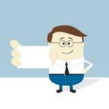 Hombre de negocios que muestra la tarjeta de visita en blanco Fotos de archivo libres de regalías