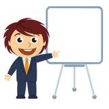 Hombre de negocios que muestra un gráfico en el tablero ilustración del vector