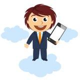 Hombre de negocios que muestra un teléfono móvil ilustración del vector