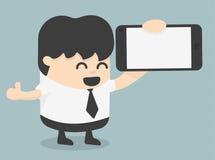 Hombre de negocios que muestra una pantalla elegante en blanco del teléfono con los pulgares para arriba stock de ilustración
