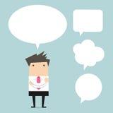 Hombre de negocios que piensa con la burbuja Imagen de archivo libre de regalías