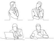 Hombre de negocios que piensa el diseño linear, línea continua, hombre pensativo con el esquema del ordenador portátil ilustración del vector