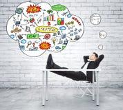 Hombre de negocios que piensa en plan de la estrategia empresarial en estilo del desván Imagenes de archivo