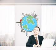 Hombre de negocios que piensa en viajar libre illustration