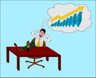 Hombre de negocios que piensa a una estadística Imagen de archivo