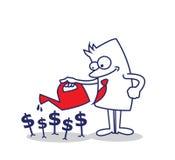 Hombre de negocios que planta el dinero Imagen de archivo libre de regalías