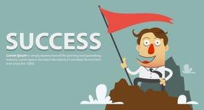 Hombre de negocios que planta la bandera del éxito en el top de la cumbre de la montaña ilustración del vector