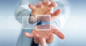 Hombre de negocios que practica surf en Internet con el interfaz táctil digital 3 Foto de archivo libre de regalías