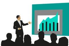 Hombre de negocios que presenta el gráfico que gana de A Imagen de archivo