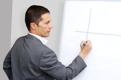 Hombre de negocios que presenta en whiteboard fotografía de archivo libre de regalías