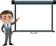 Hombre de negocios que presenta la pantalla de proyector en blanco Imagenes de archivo