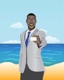 Hombre de negocios que presenta la tarjeta de visita Imagen de archivo