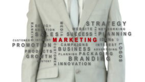 Hombre de negocios que presiona el botón del márketing metrajes