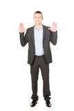 Hombre de negocios que presiona la pantalla abstracta Foto de archivo libre de regalías