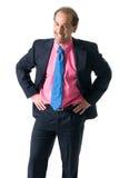 Hombre de negocios que ríe en el fondo blanco Imágenes de archivo libres de regalías
