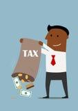 Hombre de negocios que recoge impuestos con el bolso del dinero Imagenes de archivo