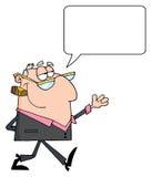 Hombre de negocios que recorre con la burbuja del discurso Imágenes de archivo libres de regalías
