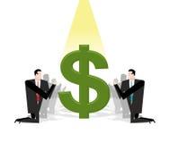 Hombre de negocios que ruega al dólar Ídolo financiero Adoración del dinero Fotos de archivo libres de regalías