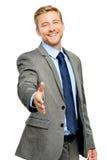 Hombre de negocios que sacude las manos aisladas en blanco Foto de archivo libre de regalías