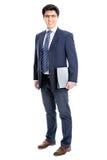 Hombre de negocios que señala al fondo blanco imagenes de archivo