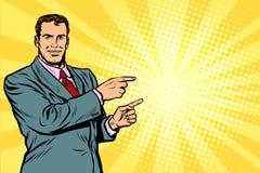 Hombre de negocios que señala el finger en el lado stock de ilustración