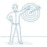 Hombre de negocios que señala en la flecha en tablero de la blanco stock de ilustración