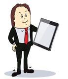 Hombre de negocios que señala a la pantalla de una tableta-PC Imágenes de archivo libres de regalías
