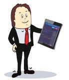 Hombre de negocios que señala a la pantalla de una tableta-PC Imagen de archivo libre de regalías