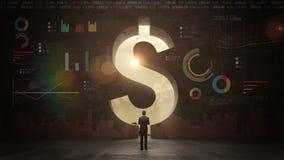 Hombre de negocios que se coloca delante de la pared negra, forma de una muestra de dólar Moneda del dólar Dinero del dólar con e stock de ilustración